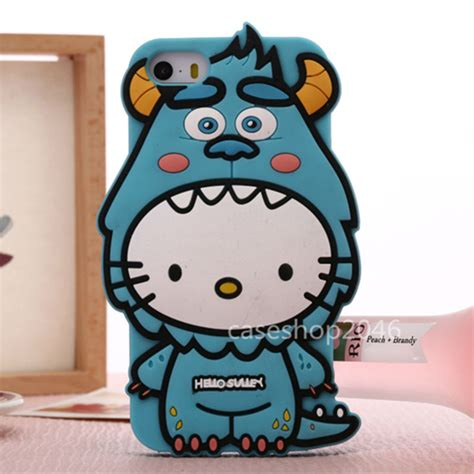 Iphone 5 5s Silicone Jelly Soft 3d Kawaii Bowtie Cat disney sulley hello silicone soft cover