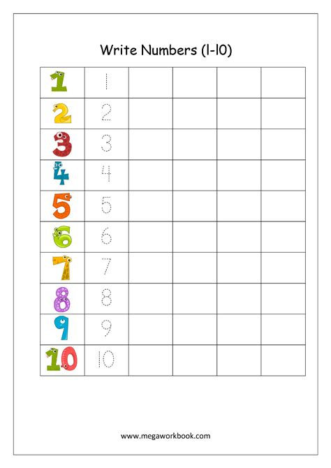 printable trace and write numbers writing numbers 1 10 boxfirepress