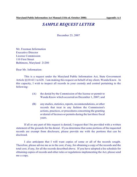 Business Letter Request Format information request letter exle 59 images request