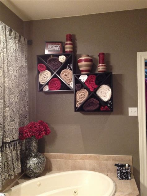 Bathroom Shelving Ideas For Towels Wine Rack Mounted To The Wall A Large Garden Tub Great For Towel Storage Home Dec
