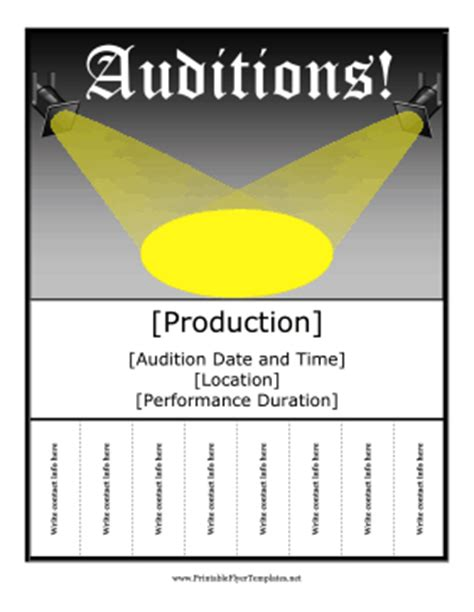 Auditions Flyer Free Printable Talent Show Flyer Template