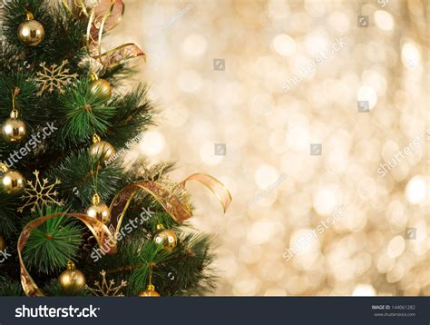gold tree lights gold background defocused lights decorated stock