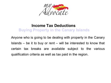 buy house tax deduction income tax deductions relating to property in the canary islands