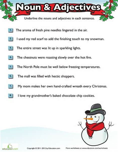 2nd grade grammar christmas worksheets and grammar worksheets on