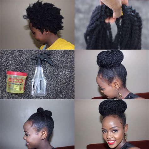 marley braid ponytail pictures faux bun with marley braids tutorial 1 put hair in two