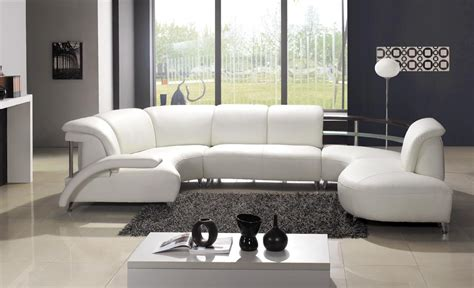 White Leather Contemporary Sofa Modern White Leather Sectional Sofa