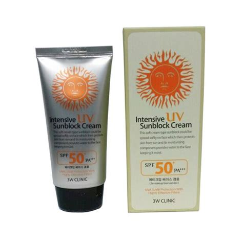 Murah 3w Clinic Sunblock Spf 50 3w clinic intensive uv sunblock spf 50 pa uva uvb protection 70ml