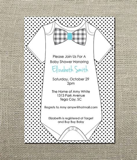 onesie bowtie baby boy shower invitation baby shower
