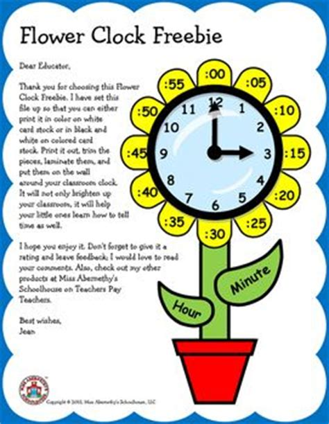 Clock Flower Template this flower clock freebie is a way to brighten up your classroom while helping your