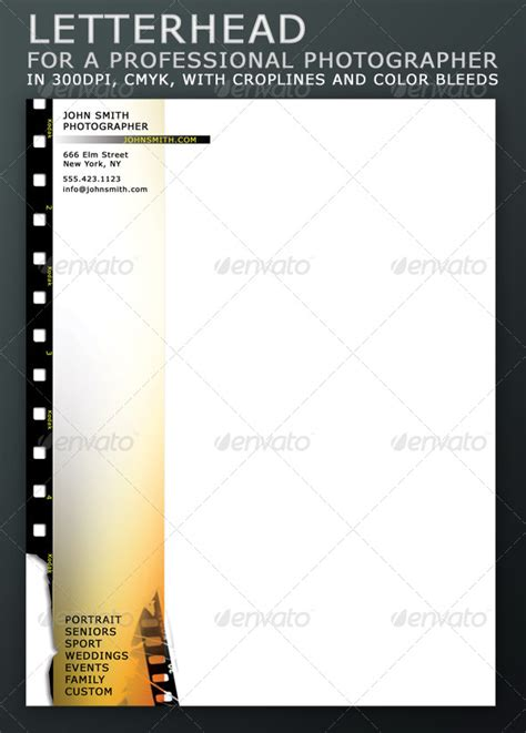 photography letterhead templates letterhead for a professional photographer graphicriver