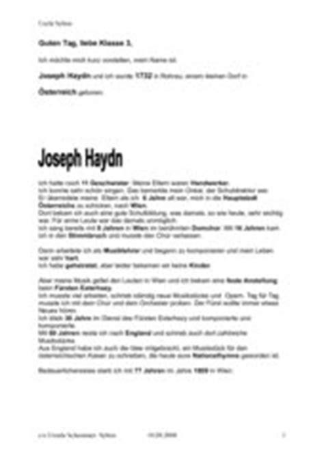 Tabellarischer Lebenslauf Joseph Haydn 4teachers Lebenslauf Joseph Haydn F 252 R Die Grundschule