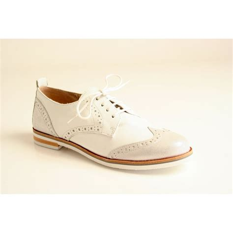 caprice caprice white leather lace up with silver toe cap