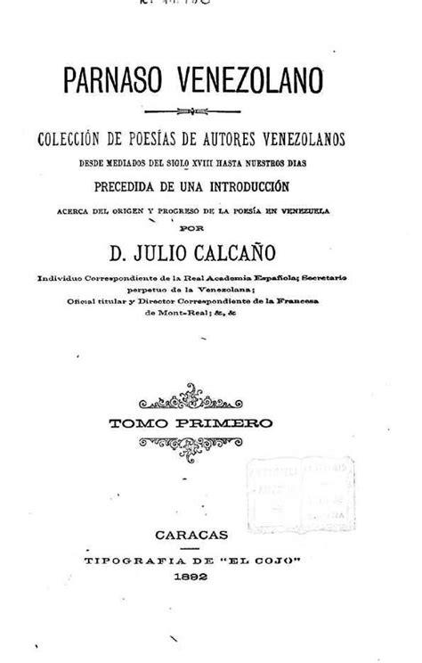 poesias e autores parnaso venezolano colecci 243 n de poes 237 as de autores