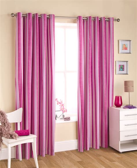 Cotton Curtains Pink Striped Curtains