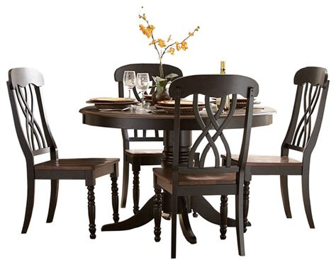 Round Dining Room Table Set homelegance ohana round pedestal dining table in black and