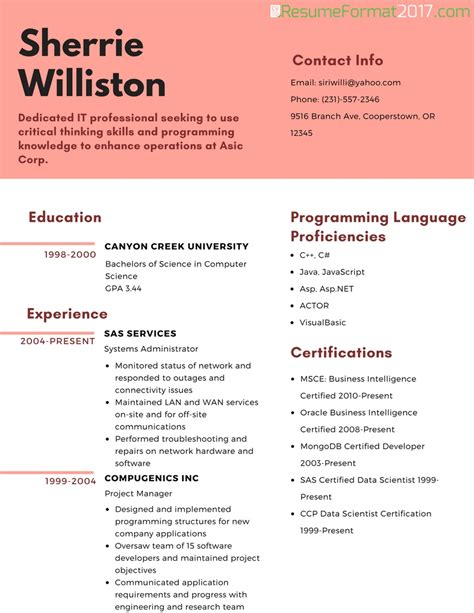 resume sle format 2017 best resume format 2017 template resume builder