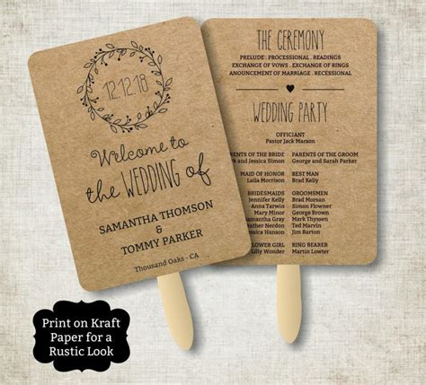 Rustic Wedding Program Fans Www Pixshark Com Images