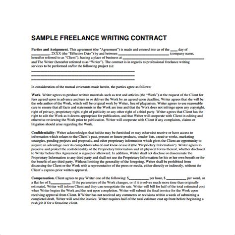10 Freelance Contract Templates Sles Exles Formats Sle Templates Freelance Writer Agreement Template