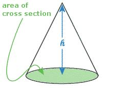 area of a cone section math scool students area g c s e homework hints