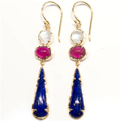 Handmade Jewellery Melbourne - moonstone ruby and lapis lazuli handmade earrings unique
