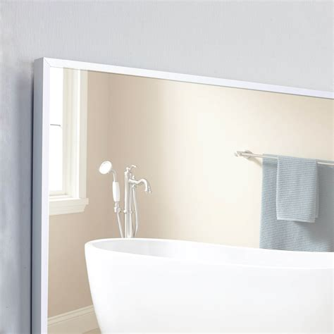 Frame Bathroom Wall Mirror | eviva sax 30 quot brushed metal frame bathroom wall mirror