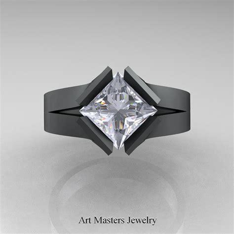 Black Sapphire 12 5ct neomodern 14k matte black gold 1 5 ct princess white