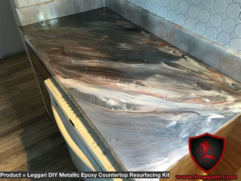 this countertop was coated with a leggari products diy metallic epoxy countertop resurfacing kit