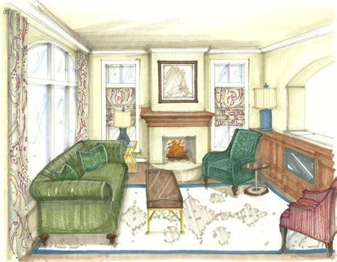 perspective living room drawing pin by jan avery so chen on plan sketch render learn