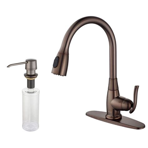 kitchen faucet soap dispenser kraus single handle stainless steel high arc pull