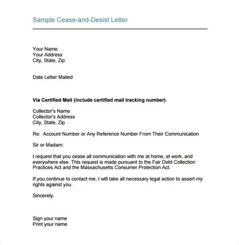 cease and desist letter template for debt collectors sle cease and desist letter the best letter sle