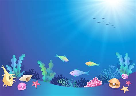 wallpaper underwater cartoon beautiful underwater world cartoon vector download
