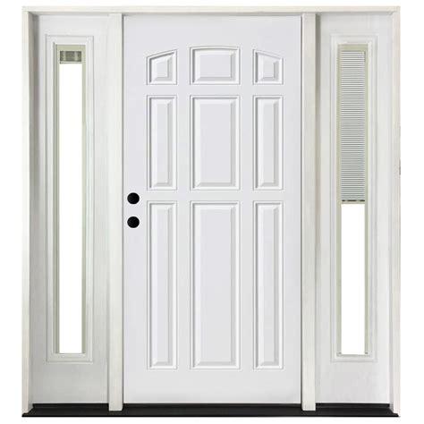 Blind For Front Door Steves Sons 72 In X 80 In 9 Panel Primed White Right Steel Prehung Front Door With 16