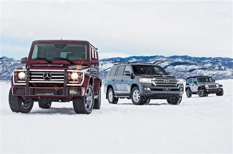 jeep mercedes jeep wrangler vs mercedes g550 vs toyota land cruiser