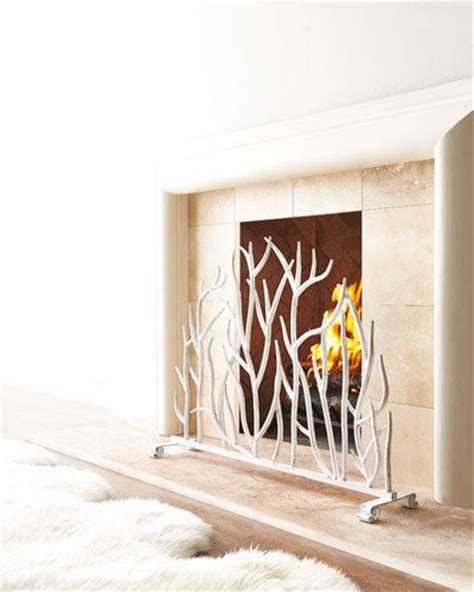 Country Fireplace Screens by Country Twig White Iron Fireplace