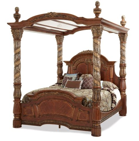 poster beds with canopy villa valencia grande marble poster canopy bed by aico