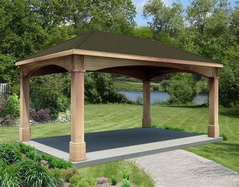 rough cut cedar single roof open rectangle gazebos