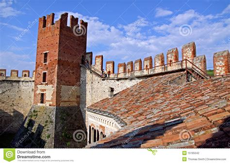 the fortified walls of an italian castle editorial