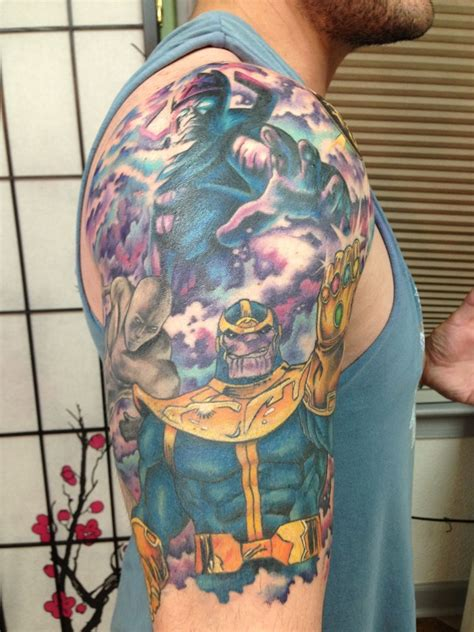 thanos tattoo fantastic marvel tattoos with thanos wolverine and more