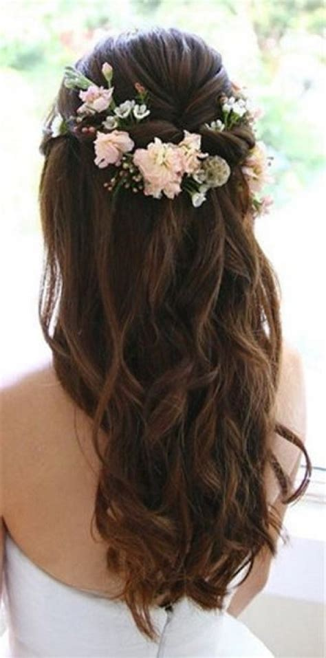 wedding hairstyles down pinterest wedding hairstyles for long hair down with flowers best 25