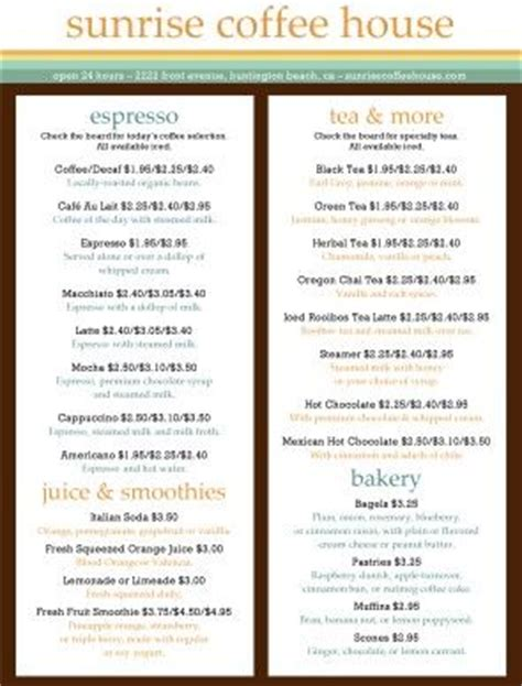 coffee menu template free bakery menu coffee menu and menu template on