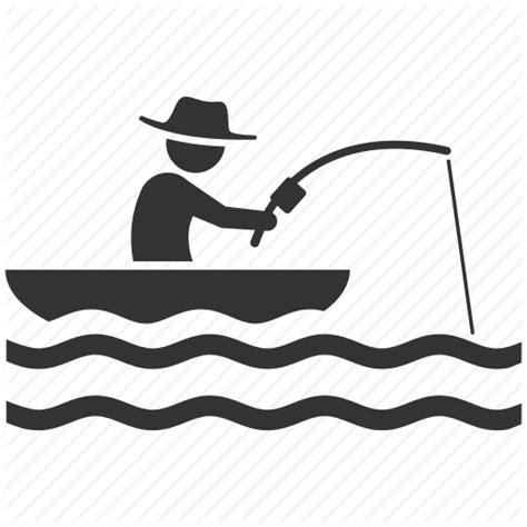 boat fishing icon boating fish hunter fisherman fishery fishing hobby