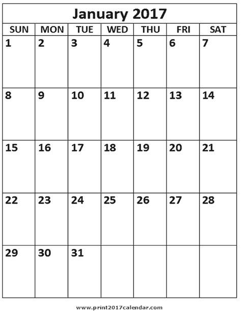 printable calendar 2017 a4 size 2017 january calendar printable