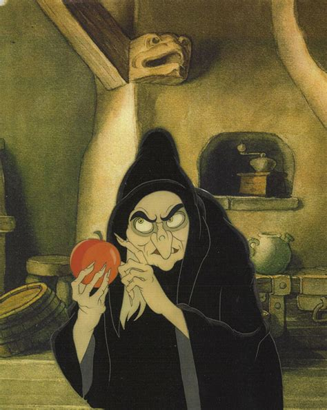 snow white poison apples vintage red apple metal canisters animation cel of the witch with the poison apple