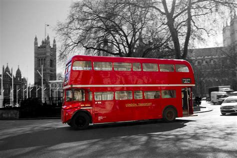 Black White And Red Home Decor by London Red Bus Photograph By David French