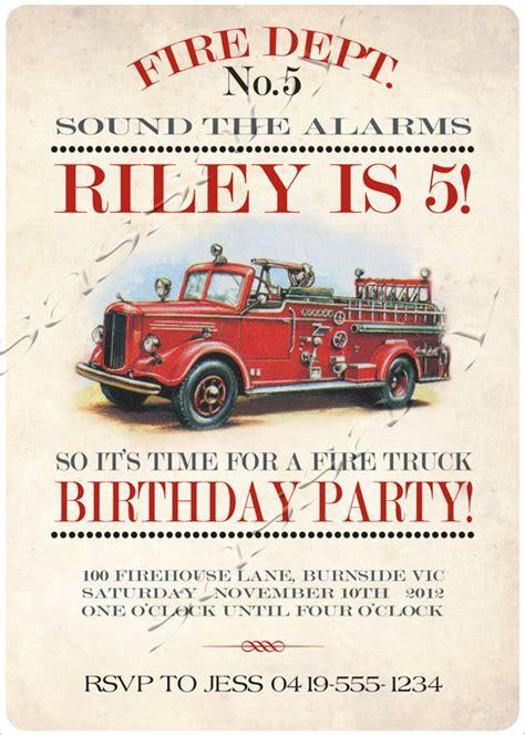 firetruck invitation sassaby parties
