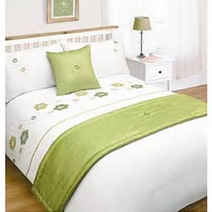 Bed Runners And Cushion Sets Lime White Floral Bed In A Bag King Size Duvet Set