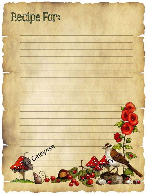 Paper Recipe - printable recipe card parchment freehand by