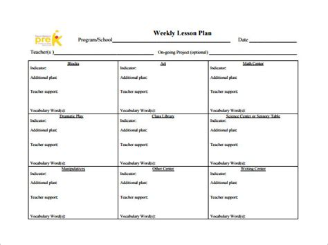 weekly lesson plan template 8 free word excel pdf