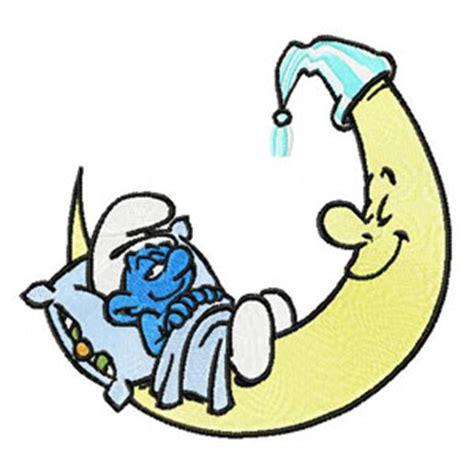smurf sleep on moon machine embroidery design ащ