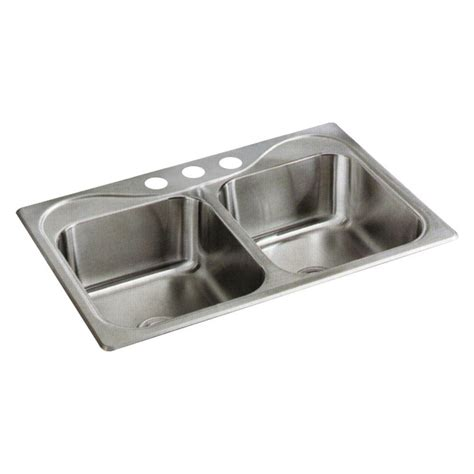 Overmount Kitchen Sink Stufurhome Nationalware Overmount Stainless Steel 33 In 2 Bowl Kitchen Sink In